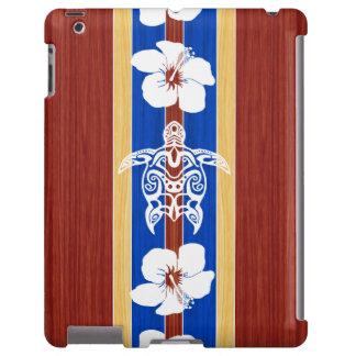Tabla hawaiana de madera falsa tribal de Honu Funda Para iPad