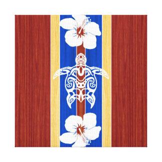 Tabla hawaiana de madera falsa tribal de Honu Lienzo Envuelto Para Galerías