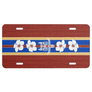 Tabla hawaiana de madera falsa tribal de Honu Placa De Matrícula