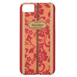 Tabla hawaiana de madera hawaiana del monograma de funda para iPhone 5C