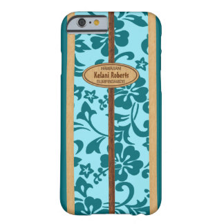 Tabla hawaiana de madera hawaiana del monograma de funda barely there iPhone 6