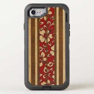 Tabla hawaiana de madera hawaiana del vintage de funda OtterBox defender para iPhone 7