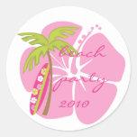 Tabla hawaiana del hibisco etiqueta redonda
