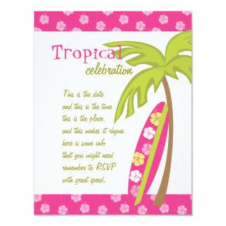 Tabla hawaiana del hibisco invitacion personal