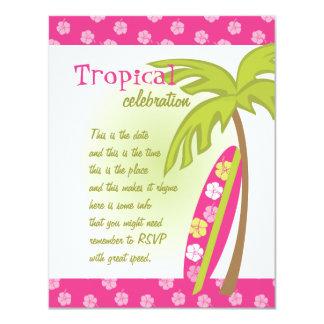 """Tabla hawaiana del hibisco invitación 4.25"""" x 5.5"""""""