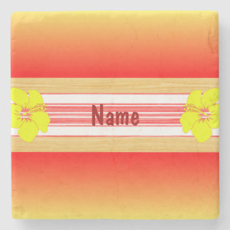 Tabla hawaiana hawaiana del rojo del hibisco posavasos de piedra
