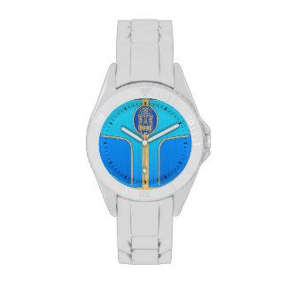 Tabla hawaiana retra azul de Tiki Reloj De Mano
