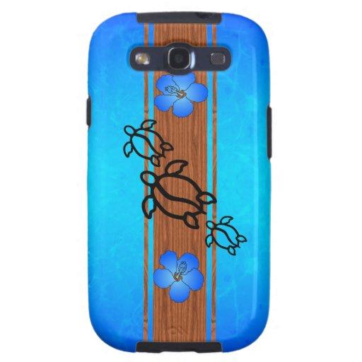 Tabla hawaiana retra de Honu Samsung Galaxy S3 Carcasas