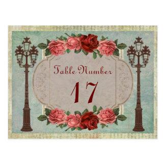 Tabla italiana de las lámparas y de los rosas de tarjetas postales
