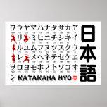 Tabla japonesa de las katakanas (alfabeto) Ninja Impresiones