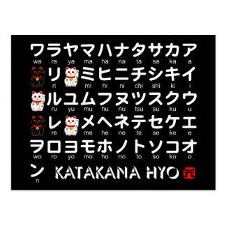 Tabla japonesa de las katakanas (alfabeto) tarjeta postal