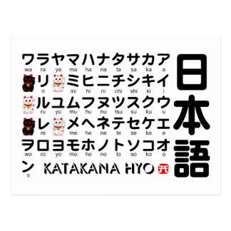 Tabla japonesa de las katakanas (alfabeto) postales