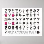 Tabla japonesa de las katakanas del chica de Ninja Póster