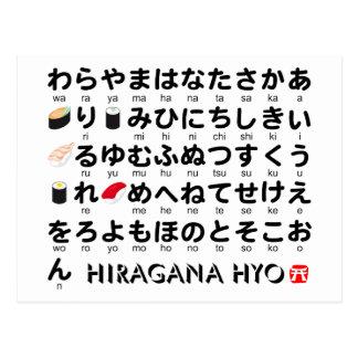 Tabla japonesa de los Hiragana (sushi) Postal