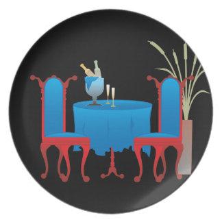 Tabla para la placa de dos melaminas platos de comidas