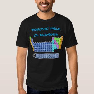 Tabla periódica de camiseta de los elementos playeras