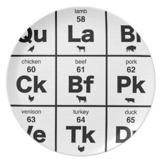 Tabla periódica de carnes plato para fiesta