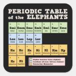 Tabla periódica de los elefantes pegatinas cuadradases personalizadas