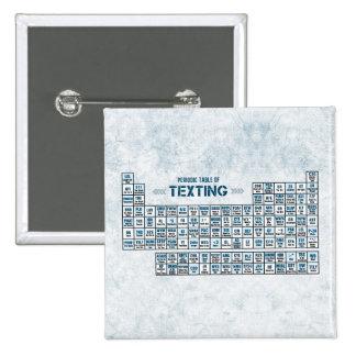 Tabla periódica de Texting (azul) Pin Cuadrado