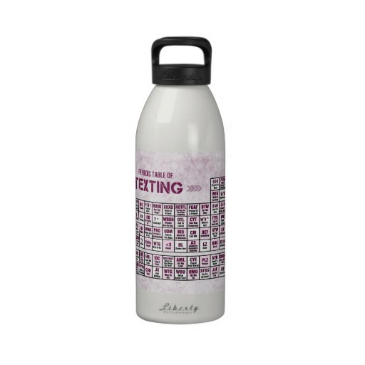 Tabla periódica de Texting (rosa) Botellas De Agua Reutilizables