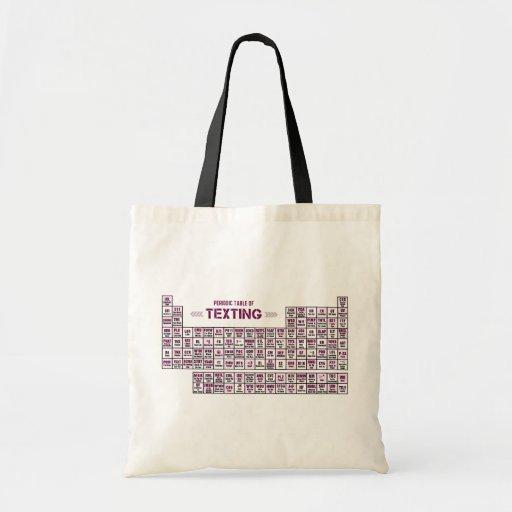 Tabla periódica de Texting (rosa) Bolsas De Mano