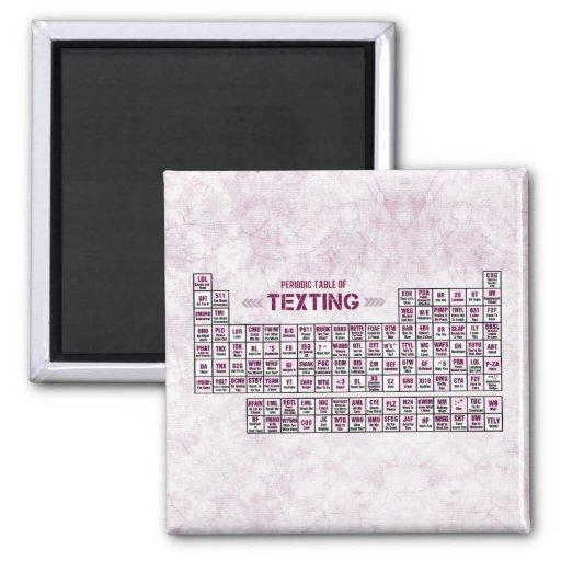 Tabla periódica de Texting (rosa) Imanes