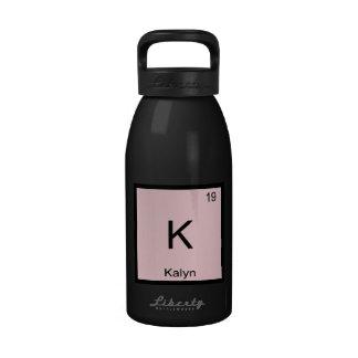 Tabla periódica del elemento conocido de la químic botella de agua reutilizable