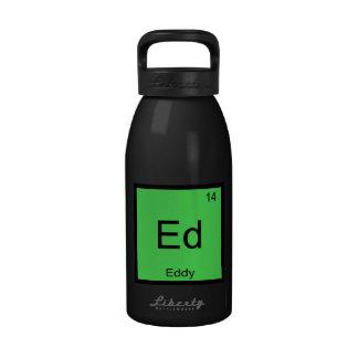 Tabla periódica del elemento conocido de la químic botellas de agua reutilizables