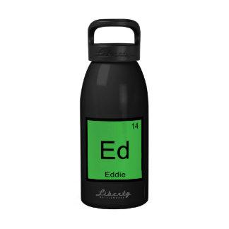 Tabla periódica del elemento conocido de la químic botallas de agua