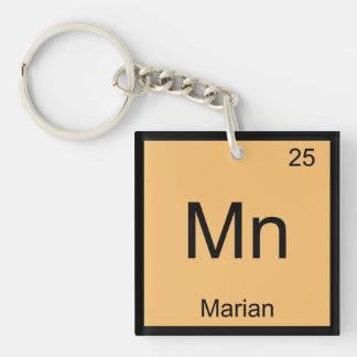 Tabla periódica del elemento conocido mariano de llavero cuadrado acrílico a una cara