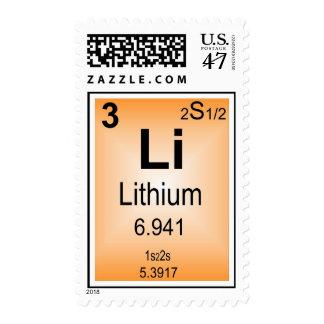 Tabla periódica del sello del litio de elementos