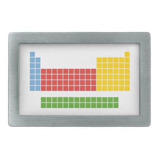 Tabla periódica hebillas cinturón rectangulares