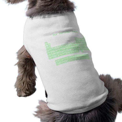 Tabla periódica verde de neón playera sin mangas para perro