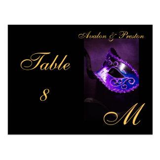 Tabla púrpura Placecard de la máscara de la Tarjetas Postales