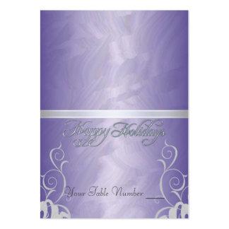 Tabla púrpura Placecard del día de fiesta de la ci Tarjeta De Visita