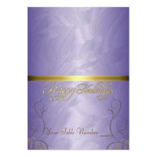 Tabla púrpura Placecard del día de fiesta de la ci Plantillas De Tarjetas Personales
