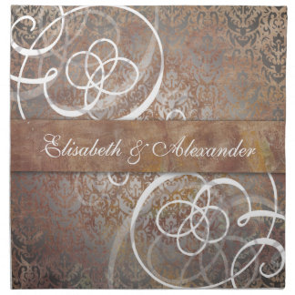 Tabla toscana elegante del boda del damasco servilleta imprimida