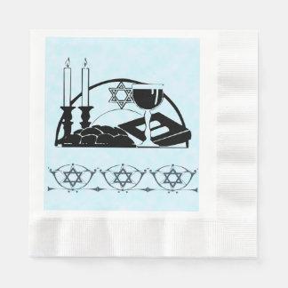 Tabla, vino y kiddush de Shabbat Servilletas De Papel