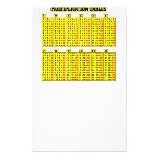 Tablas de multiplicación - matemáticas papelería de diseño