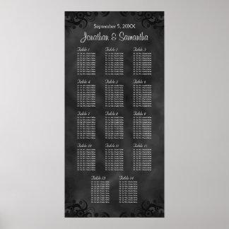 Tablas del negro 14 del hibisco que casan la carta póster
