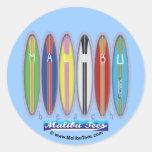 Tablas hawaianas de la playa de Malibu Etiqueta Redonda