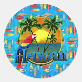 Tablas hawaianas de la puesta del sol de Hawaii Pegatinas Redondas