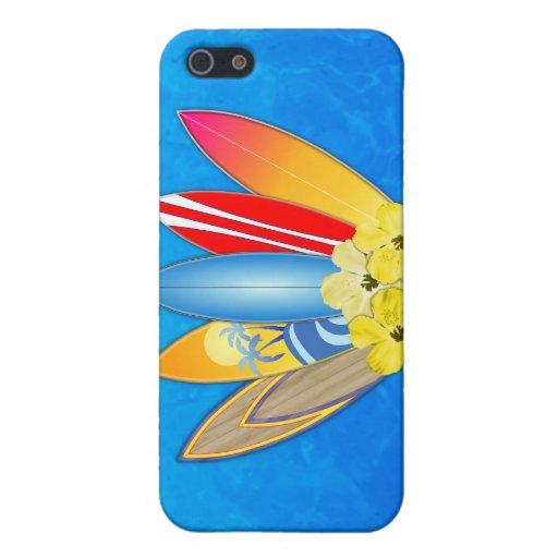 Tablas hawaianas e hibisco iPhone 5 carcasas