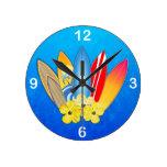 Tablas hawaianas e hibisco relojes de pared