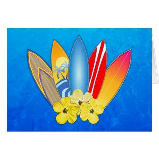 Tablas hawaianas e hibisco tarjeta de felicitación