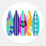 Tablas hawaianas etiquetas redondas