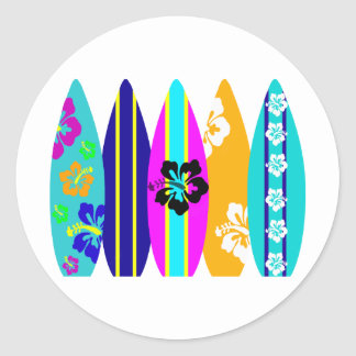 Tablas hawaianas pegatina redonda