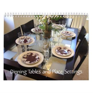 Tablas y cubiertos de Dinning Calendario