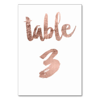 Table 3 Number rose gold typography wedding Card