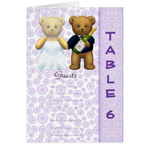 Table 6 number card Lilac Teddy bear wedding peom